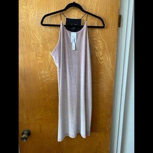 Aqua high neck tank velvet shift midi dress L